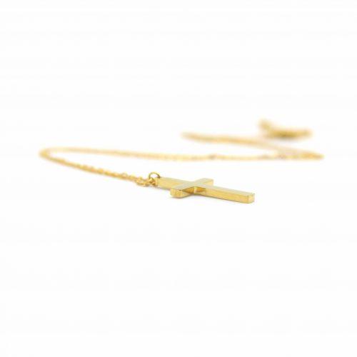 Collier croix acier dore (2)