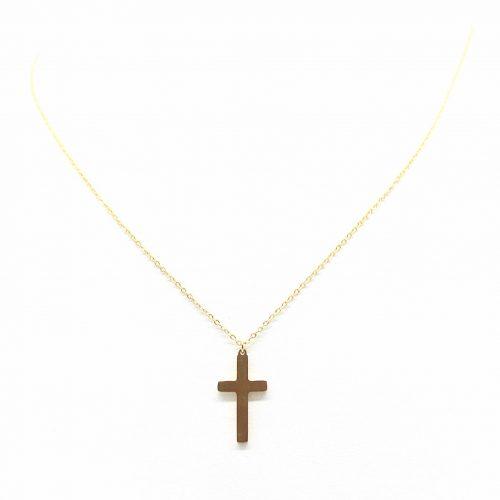 Collier croix acier dore(1)